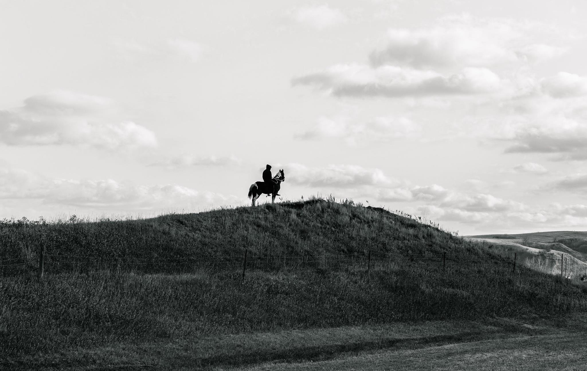 Steve Pavey, Standing Rock, Water Protector on ridge on horse back in North Dakota